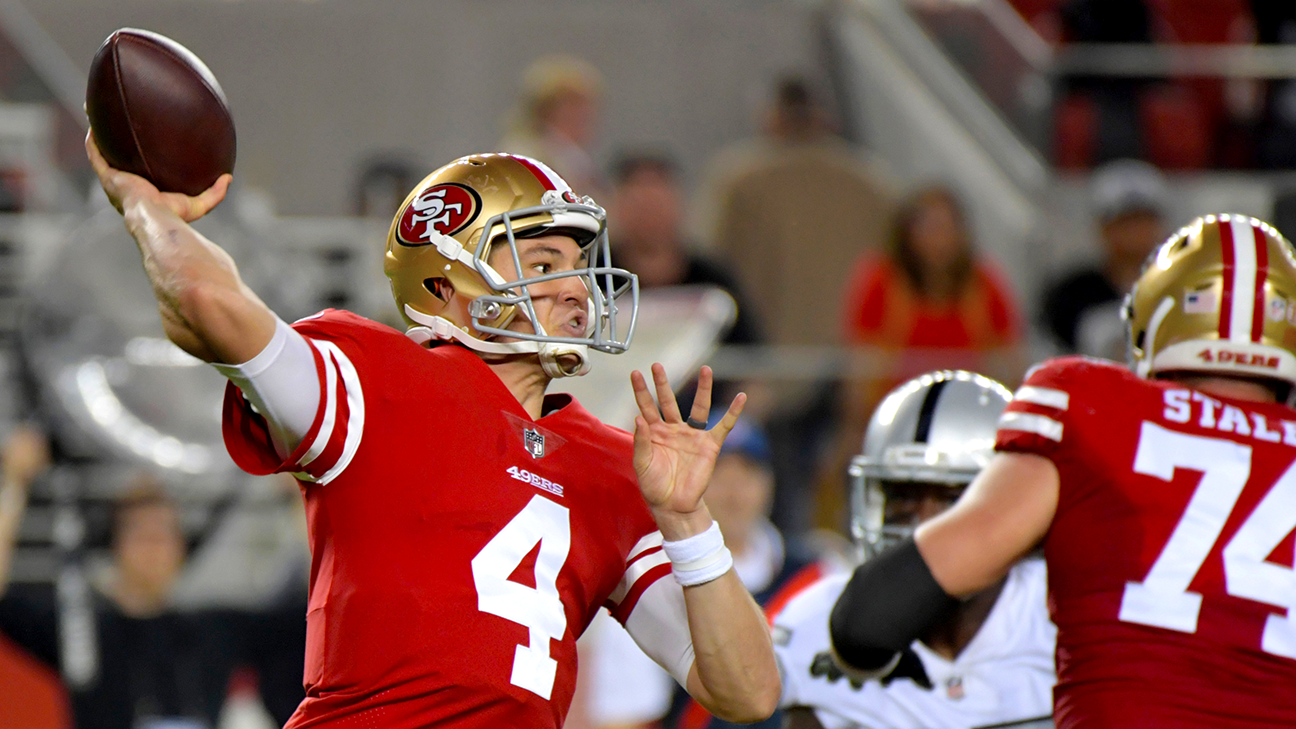 1789fbe5 Nick Mullens puts up historic numbers in NFL debut as 49ers cruise