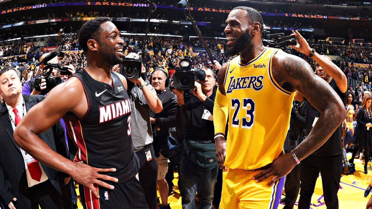 268da6e1080 LeBron James denies Dwyane Wade in crunch time as Lakers prevail