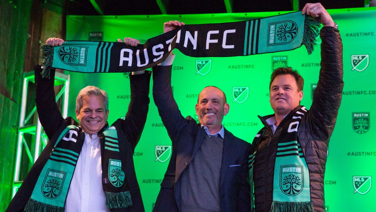 Austin mayor Steve Adler, Don Garber, Major League Soccer commissioner and Anthony Precourt, Chairman and CEO of Austin FC announce Austin FC as the newest MLS team at the Rustic Tap.