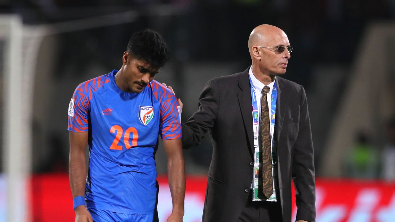 Stephen Constantine consoles Pritam Kotal after India's Asian Cup exit.