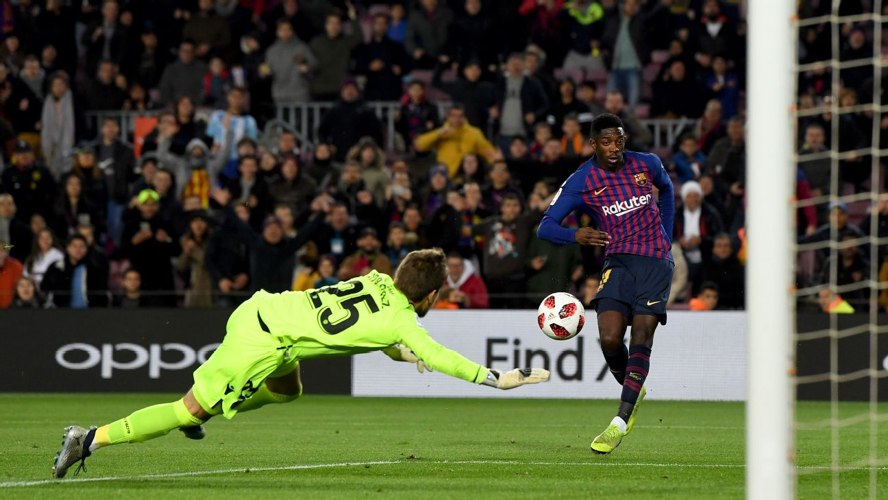 Ousmane Dembele scores one of his two goals in Barcelona's Copa del Rey win against Levante.