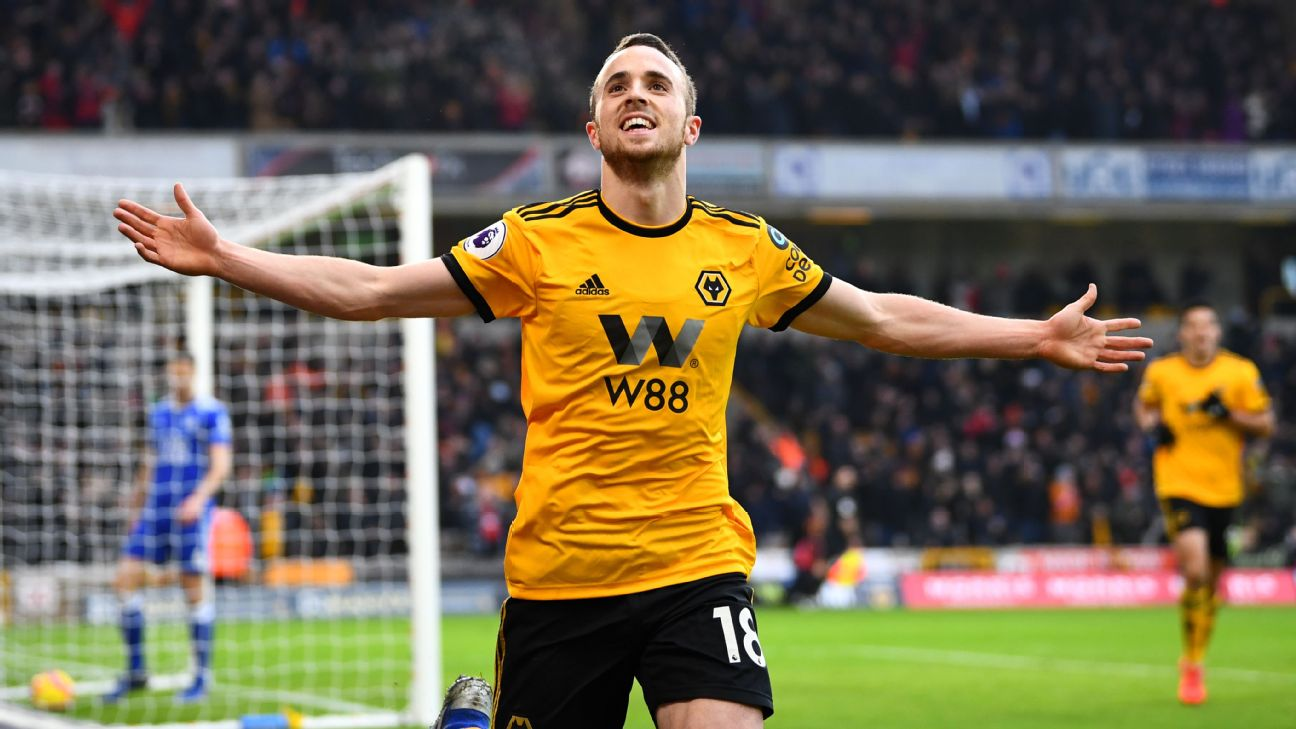 Diogo Jota was Wolves' star man in the Premier League win against Leicester City.