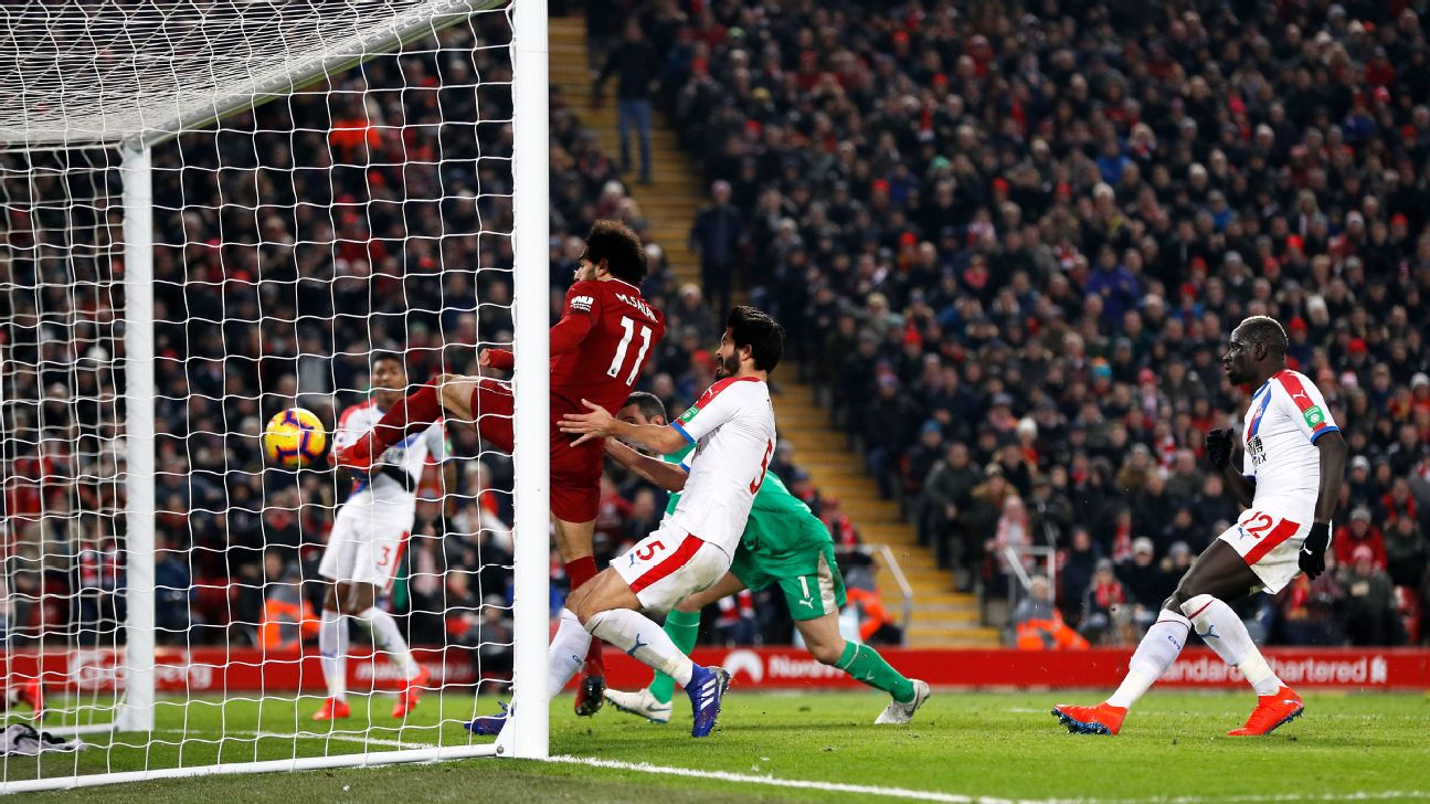 Salah scores two as Speroni howler helps Liverpool beat Crystal Palace