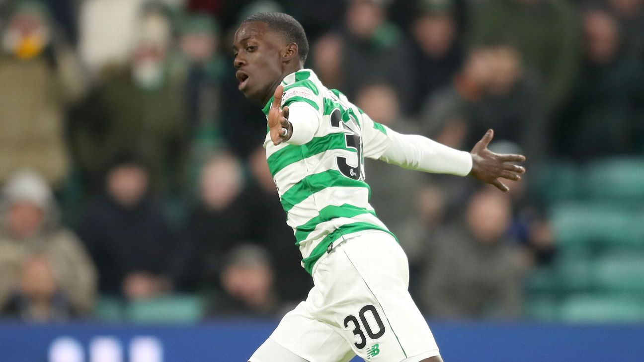 Timothy Weah celebrates his goal for Celtic during the Scottish Cup win against Airdrieonians.