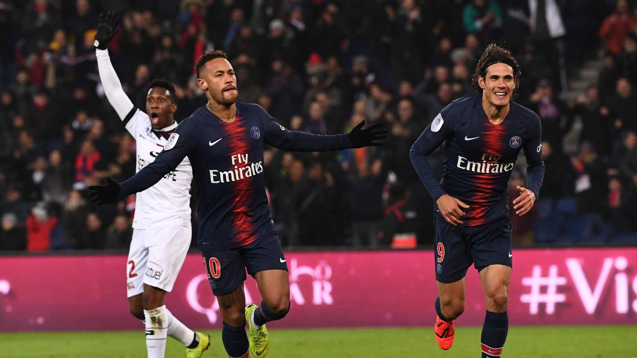 PSG's 'MCN' attacking trident or Kylian Mbappe, Edinson Cavani and Neymar was firing on all cylinders vs. Guingamp.