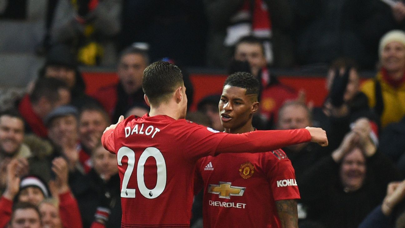 Marcus Rashford, right, celebrates with Diogo Dalot after scoring a goal for Manchester United.