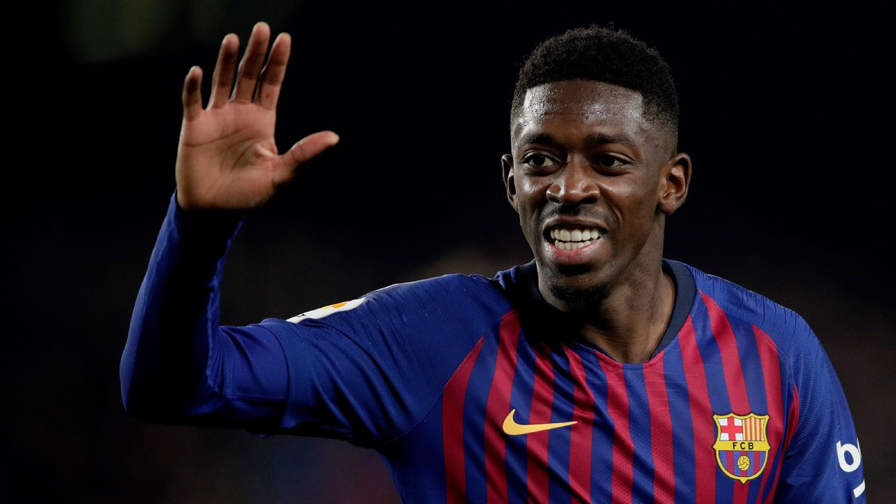 Ousmane Dembele celebrates after scoring in Barcelona's La Liga win over Leganes.