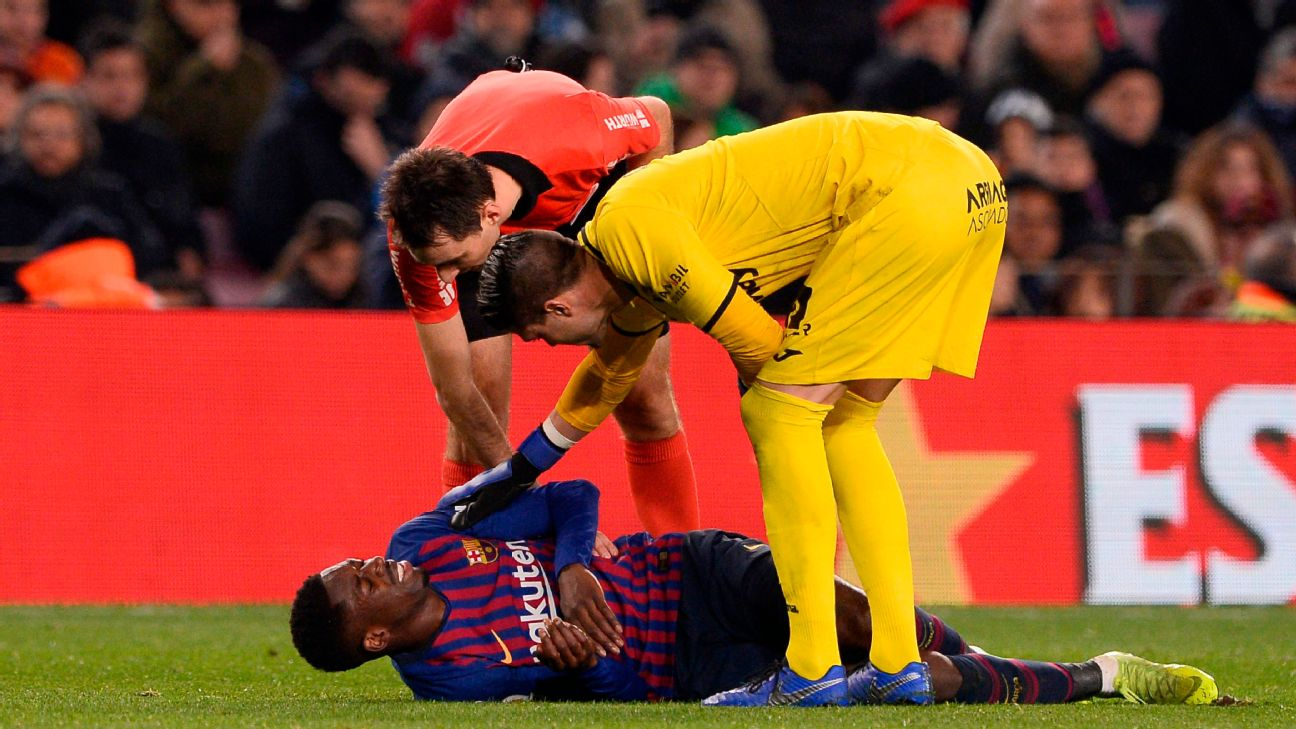 Barcelona's Ousmane Dembele lies on the ground after sustaining an injury against Leganes.