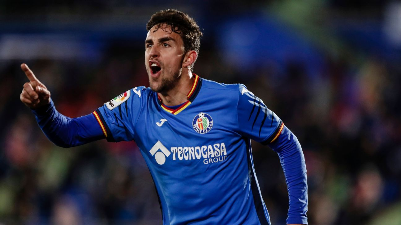 Jaime Mata celebrates after scoring in Getafe's La Liga win over Alaves.