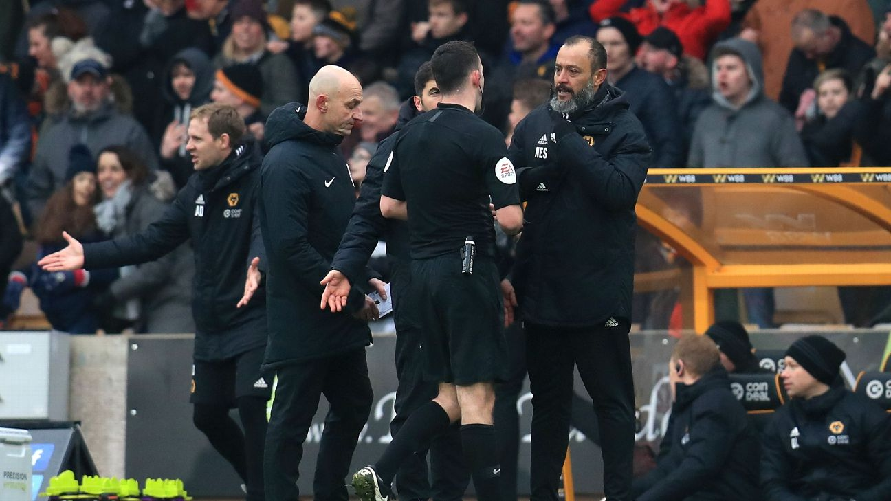 Wolves boss Nuno Espirito Santo, right, was sent off during his team's Premier League win against Leicester on Sunday.