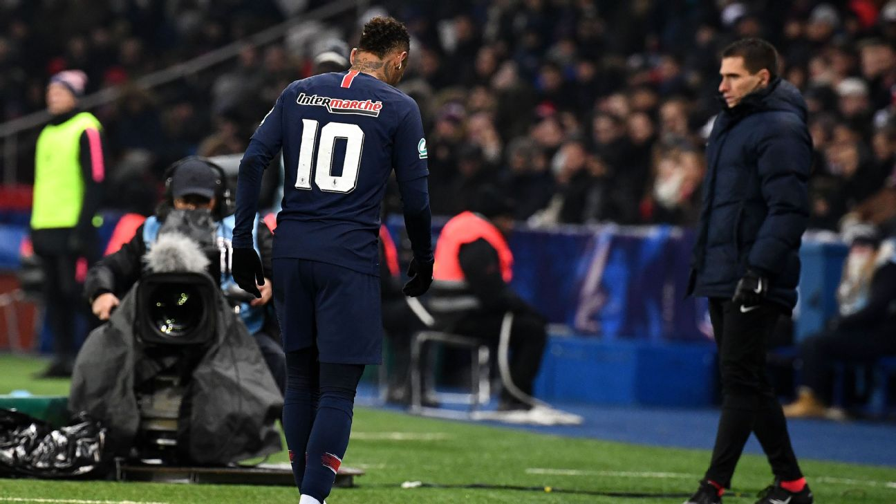Neymar limps off after sustaining an injury in PSG's Coupe de France win against Strasbourg.