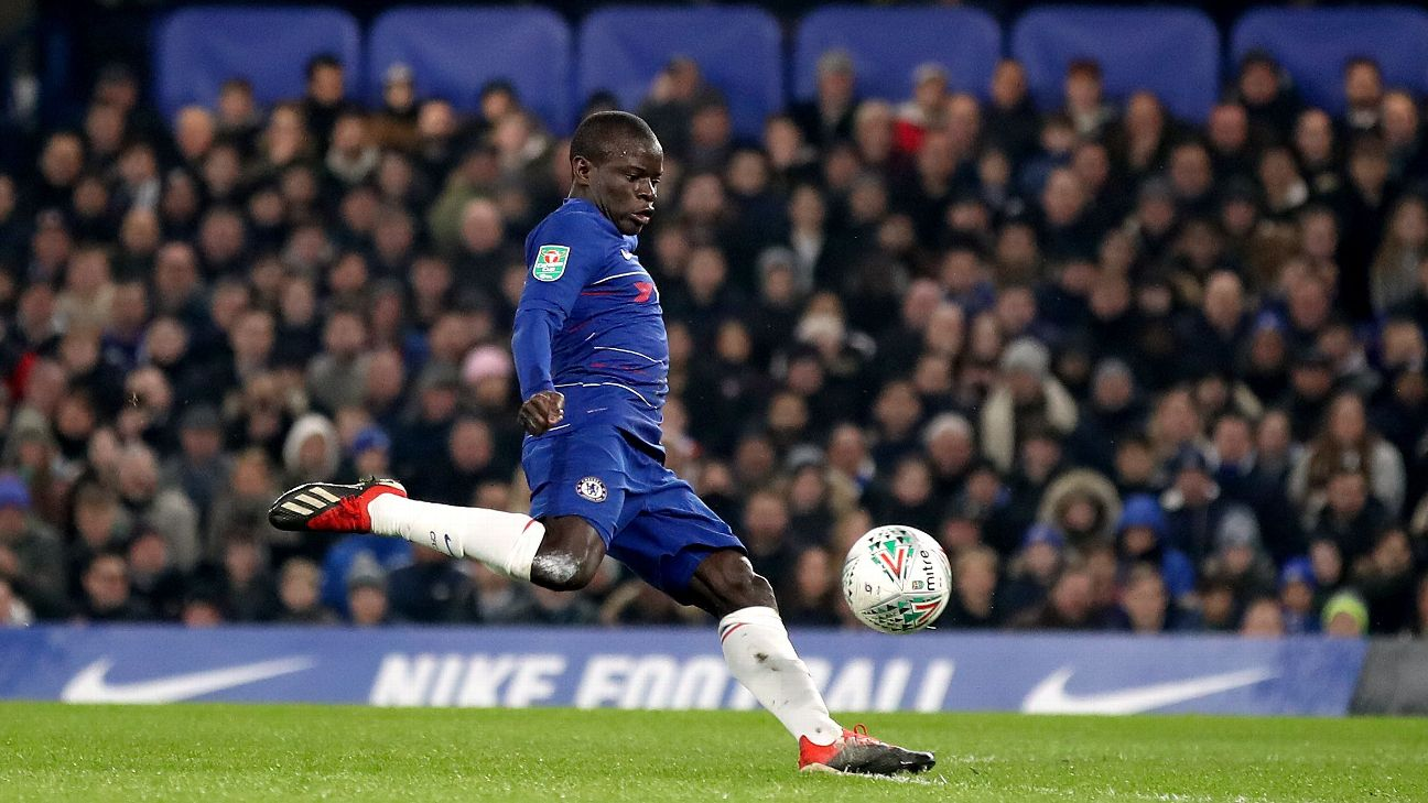 N'Golo Kante scores in Chelsea's Carabao Cup semifinal second-leg win over Tottenham.