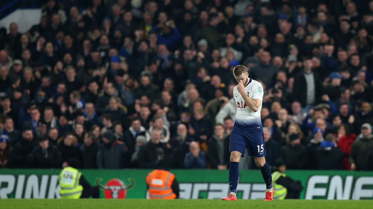 Eric Dier reacts after Tottenham's Carabao Cup semifinal defeat to Chelsea.