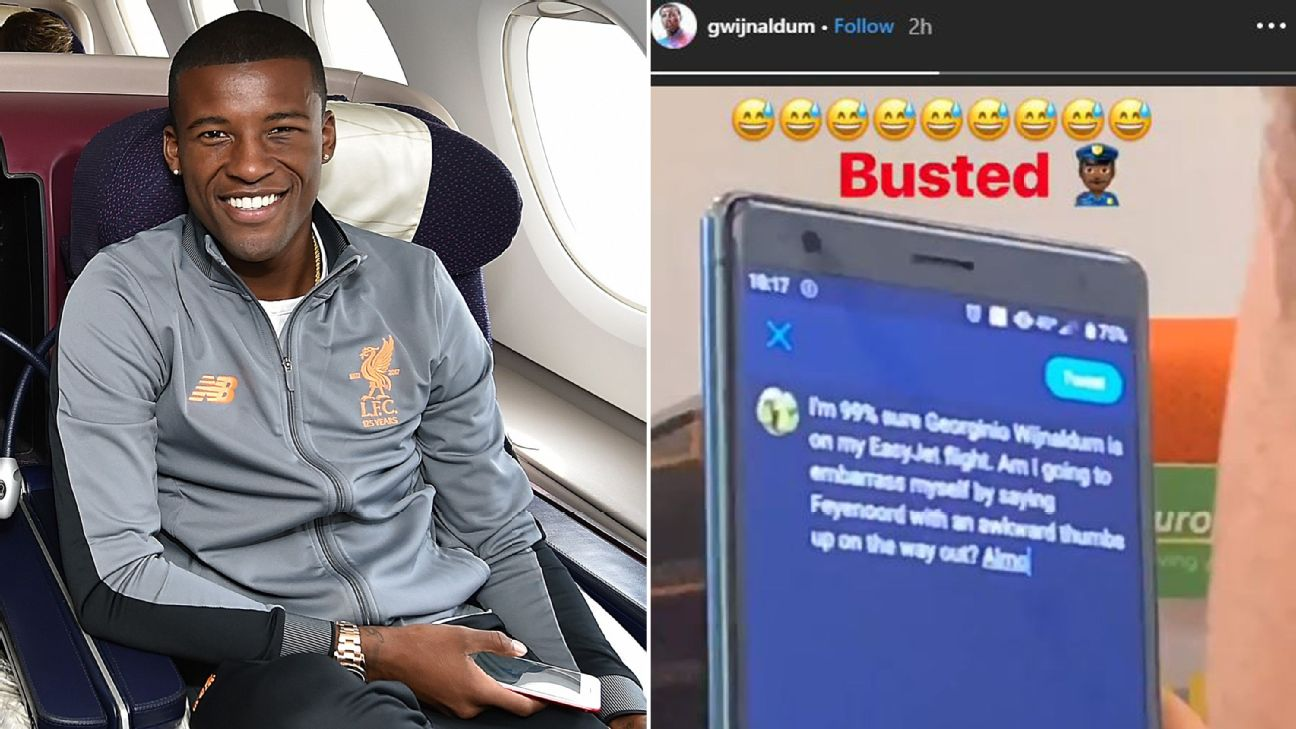 Busted! Liverpool s Wijnaldum catches man tweeting about him on flight