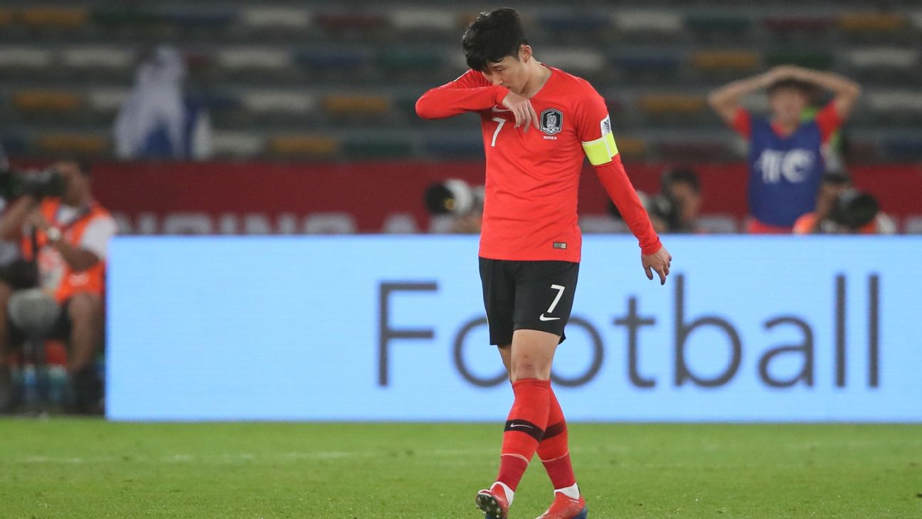 A dejected Son Heung-min of South Korea after Tameem Al-Muhizea of Qatar scored a goal
