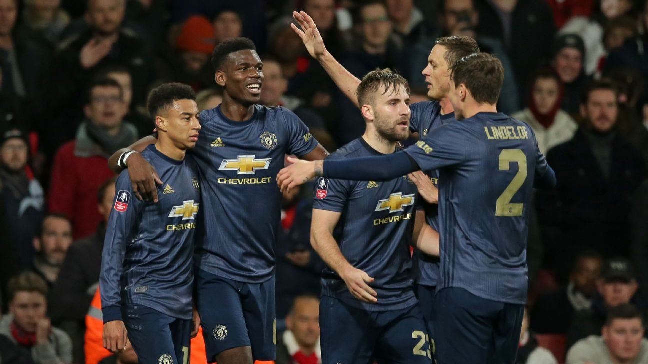 Manchester United players celebrate after a Jesse Lingard goal against Arsenal in the FA Cup.