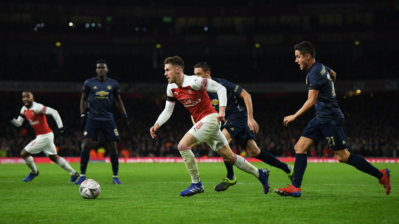 Aaron Ramsey of Arsenal dribbles the ball past Manchester United's Ander Herrera in their FA Cup match.