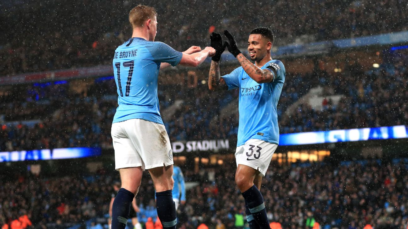Kevin De Bruyne and Gabriel Jesus celebrate during Manchester City's FA Cup win over Burnley.