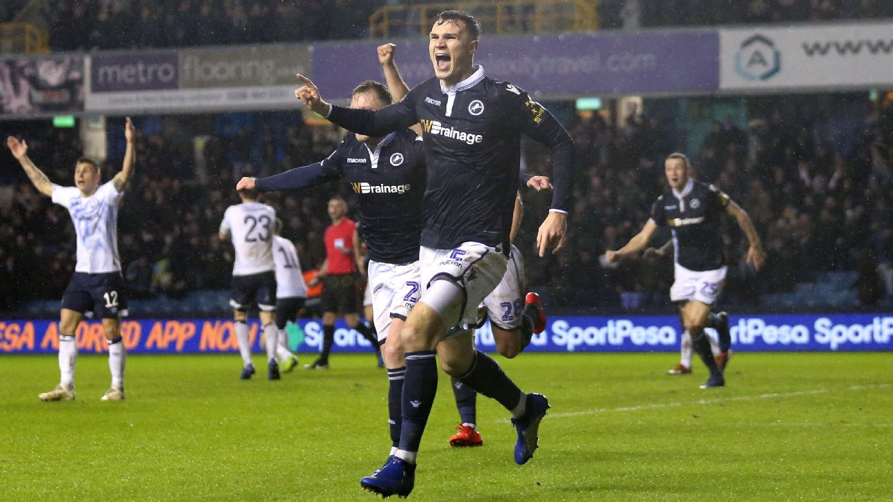 Millwall's Jake Cooper celebrates during the FA Cup match against Everton.