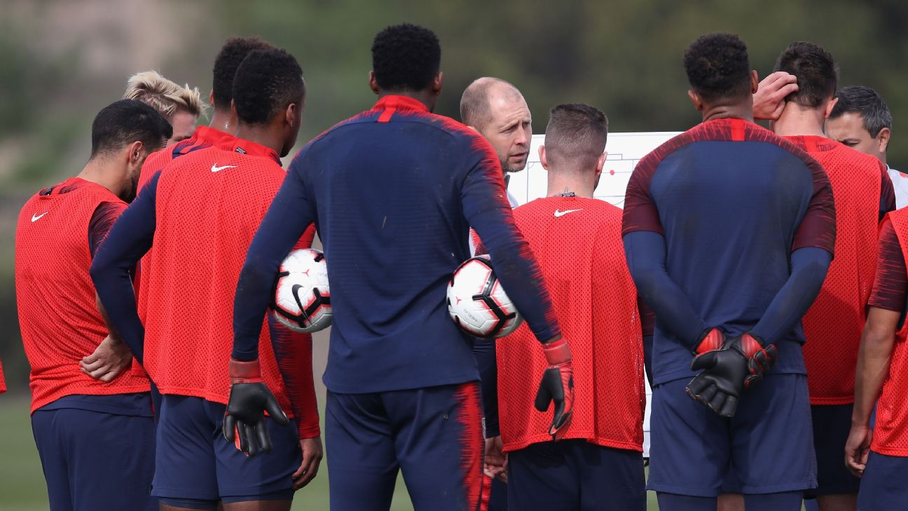 U.S. coach Gregg Berhalter talks to his team during its January training camp in California.