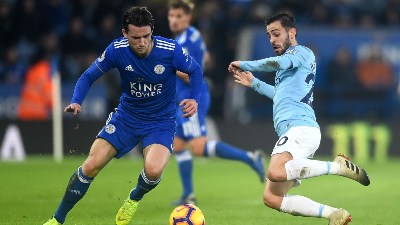 Ben Chilwell in action against Manchester City
