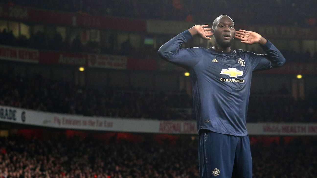 Romelu Lukaku celebrates during Manchester United's FA Cup win at Arsenal.