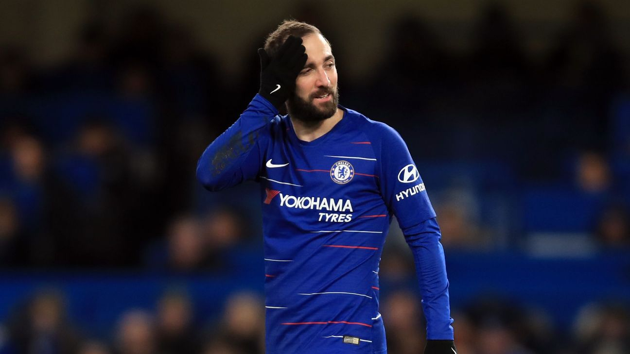 Gonzalo Higuain in action during Chelsea's FA Cup match against Sheffield Wednesday.