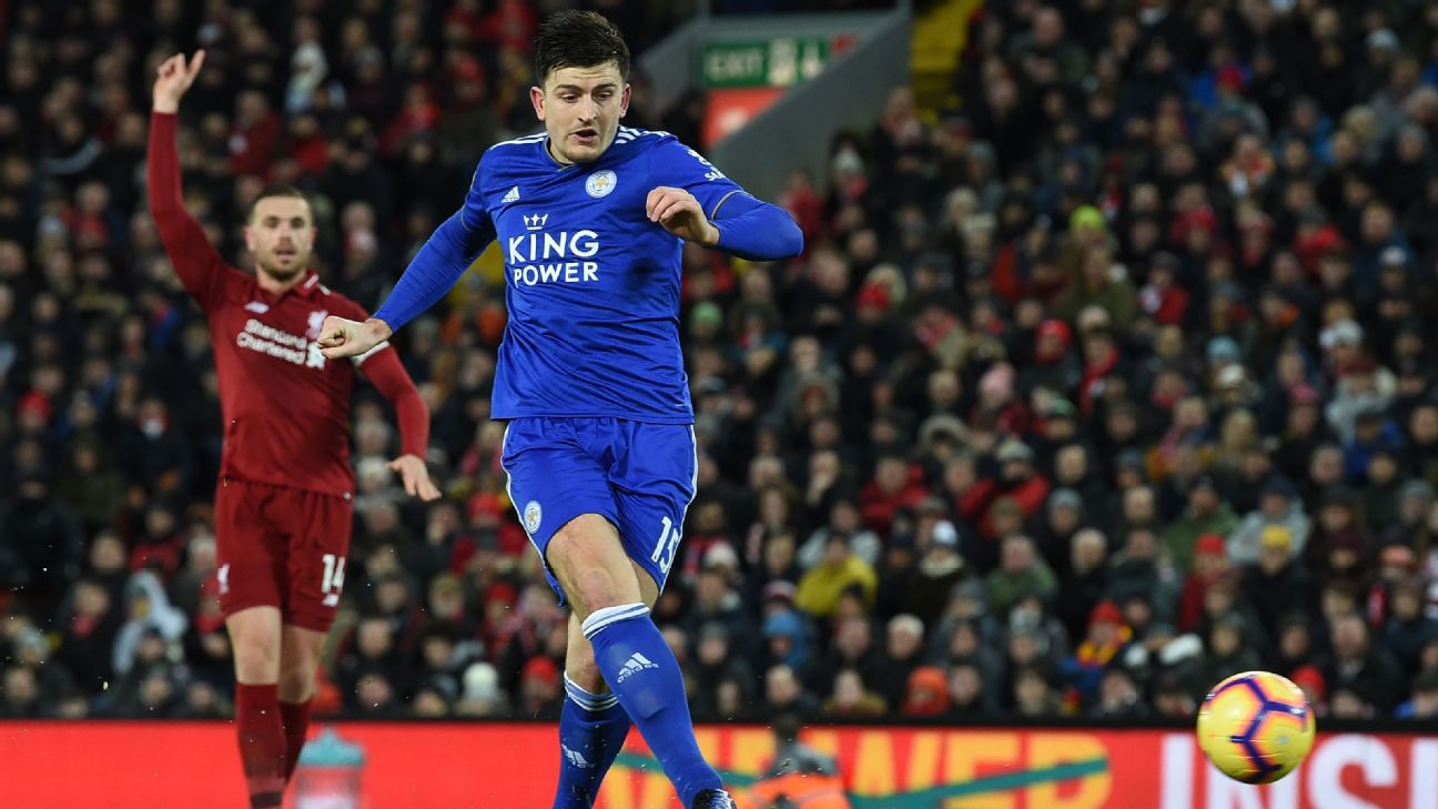 Harry Maguire scores in Leicester City's Premier League match at Liverpool.