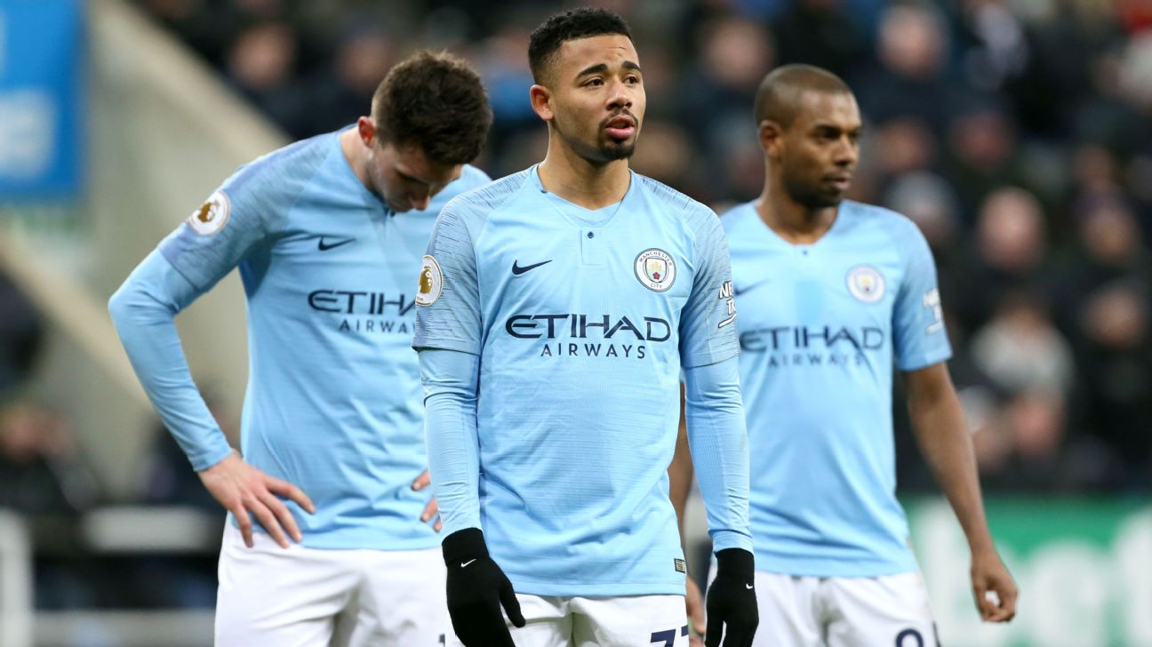 Gabriel Jesus and Manchester City teammates look on during their Premier League loss to Newcastle.