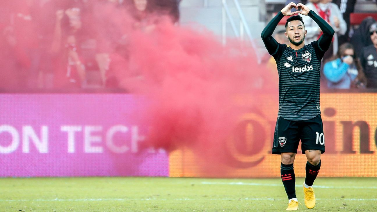 Luciano Acosta celebrates during D.C. United's MLS match against New York City FC.