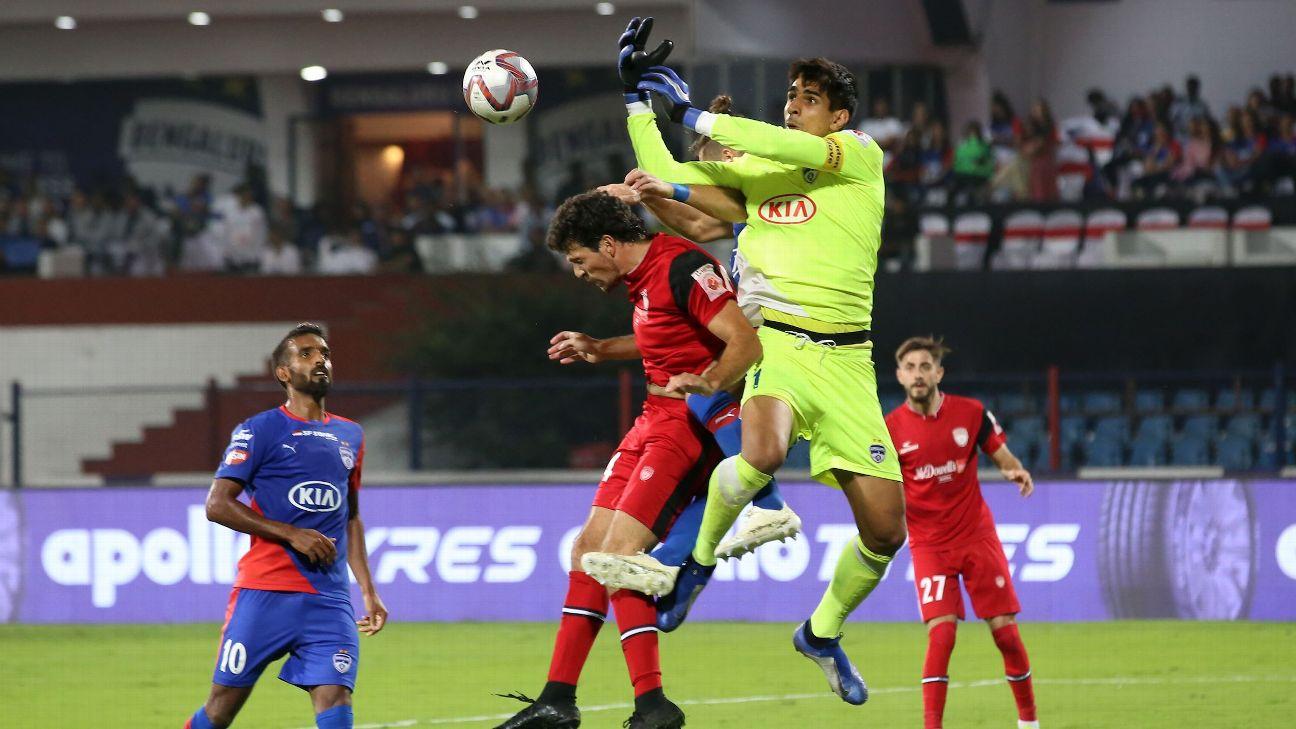 Gurpreet Singh Sandhu makes a save during Bengaluru's 2-1 win over NorthEast United.