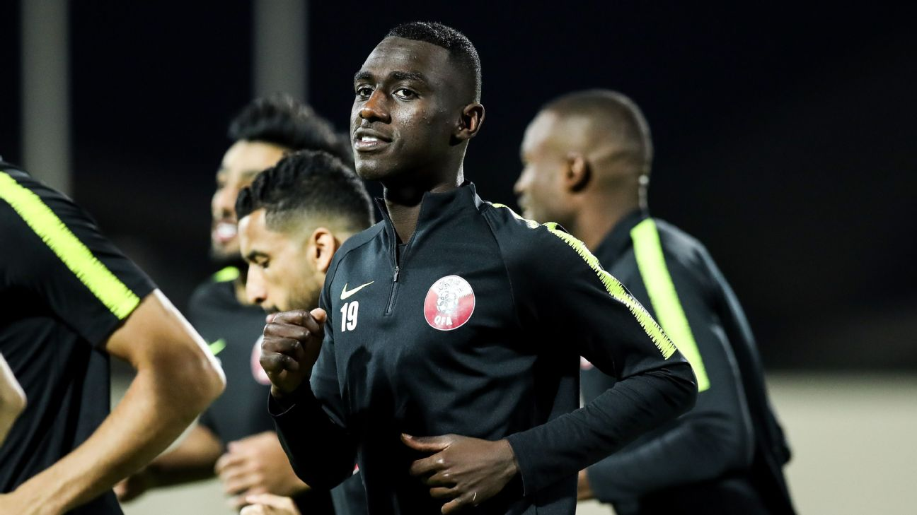 Almoez Ali trains with his Qatari teammates ahead of the Asian Cup final.
