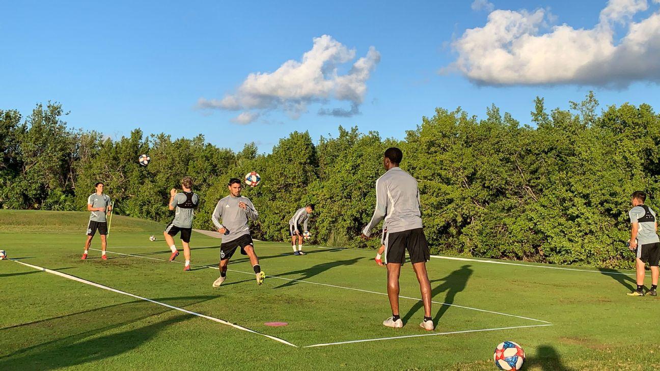 San Jose Earthquakes players train during their preseason camp in Cancun, Mexico.