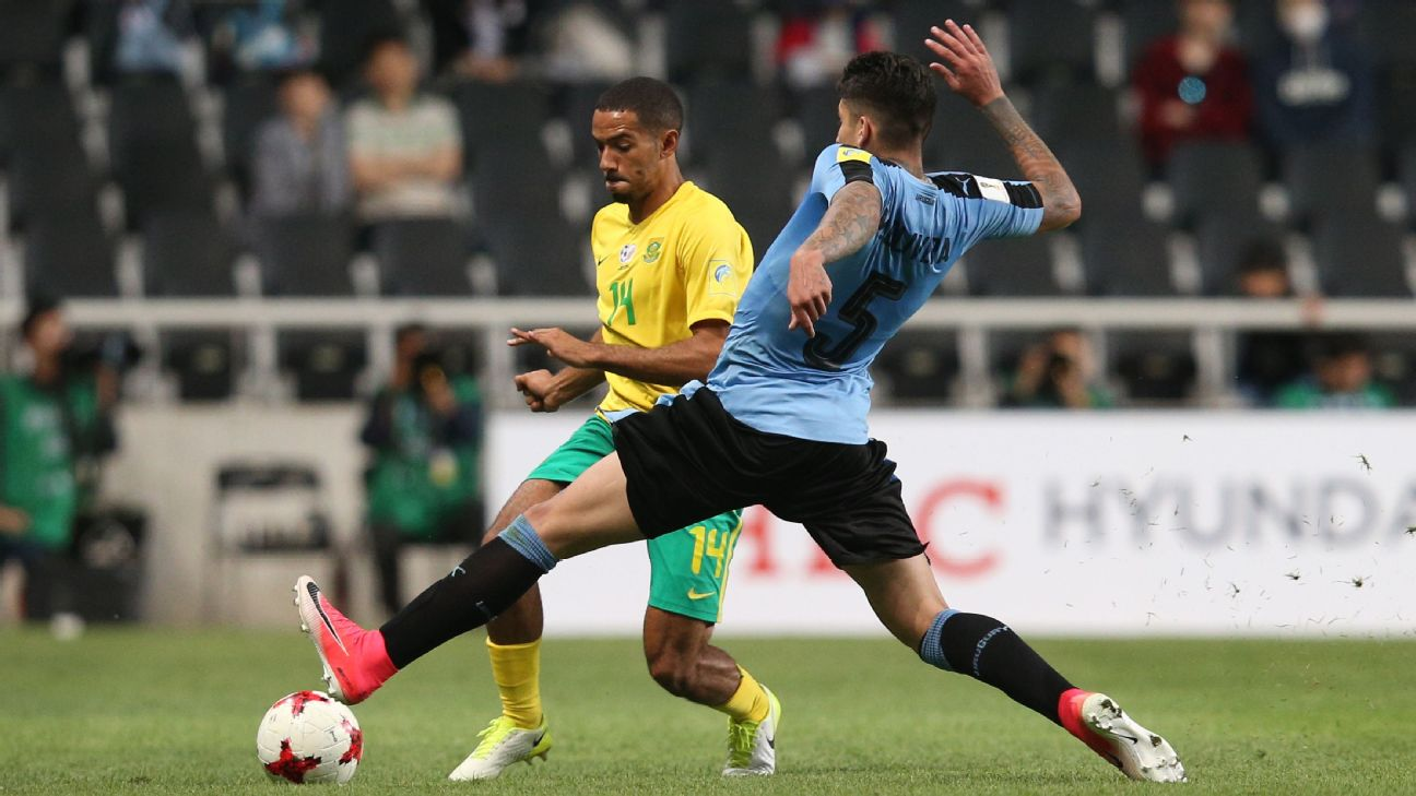 Reeve Frosler is a South Africa youth international, seen here playing against Uruguay at the FIFA U-20 World Cup in 2017.
