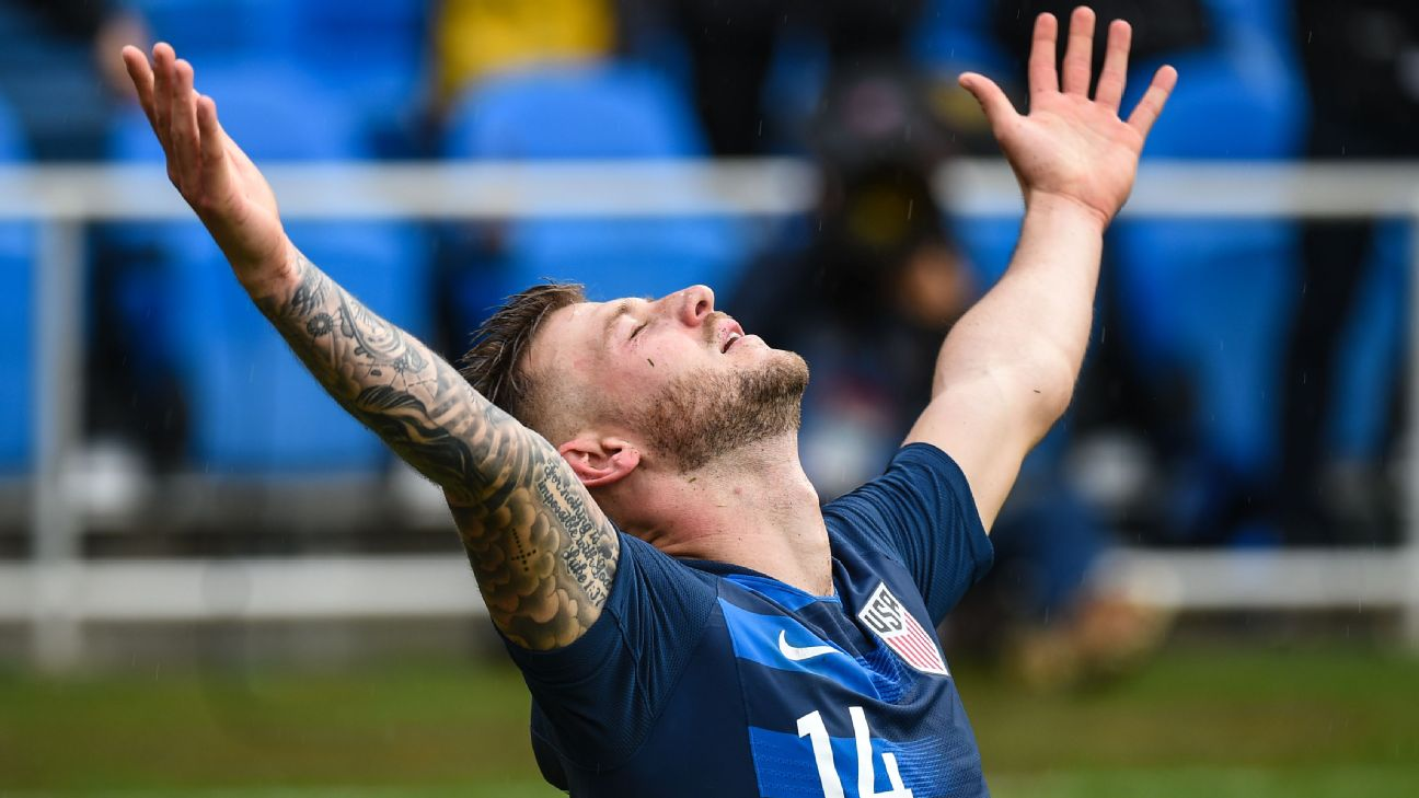 Paul Arriola celebrates after scoring in the U.S.'s friendly win over Costa Rica.