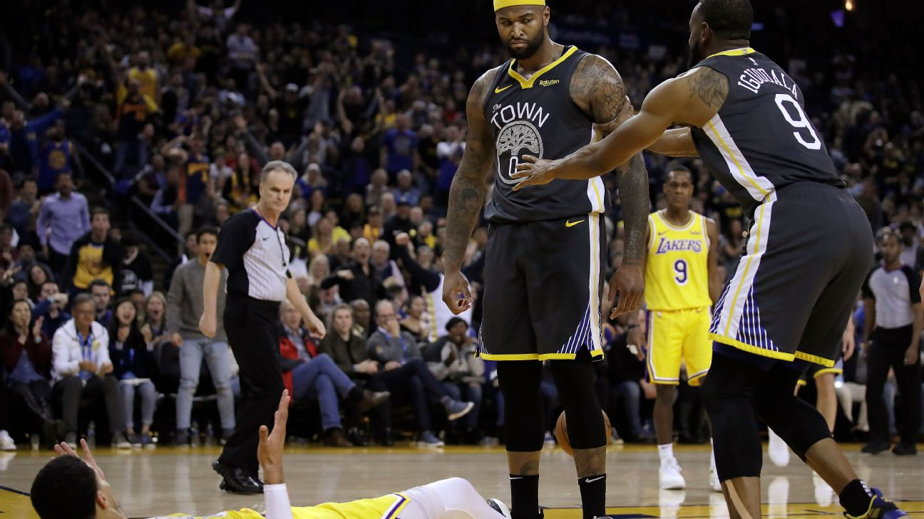 518036dd5 Explosive DeMarcus Cousins dunk sparks Warriors in win over Lakers
