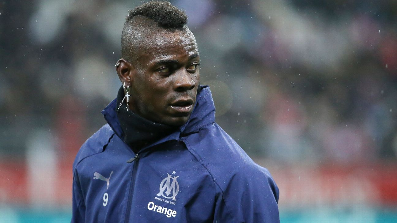 Marseille forward Mario Balotelli Marseille forward Mario Balotelli warms up before a clash with Reims