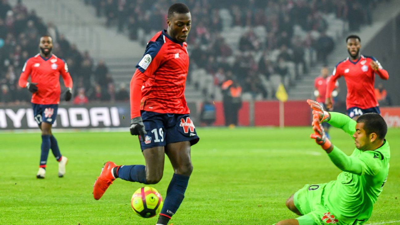 Nicolas Pepe scores in Lille's Ligue 1 win over Nice.