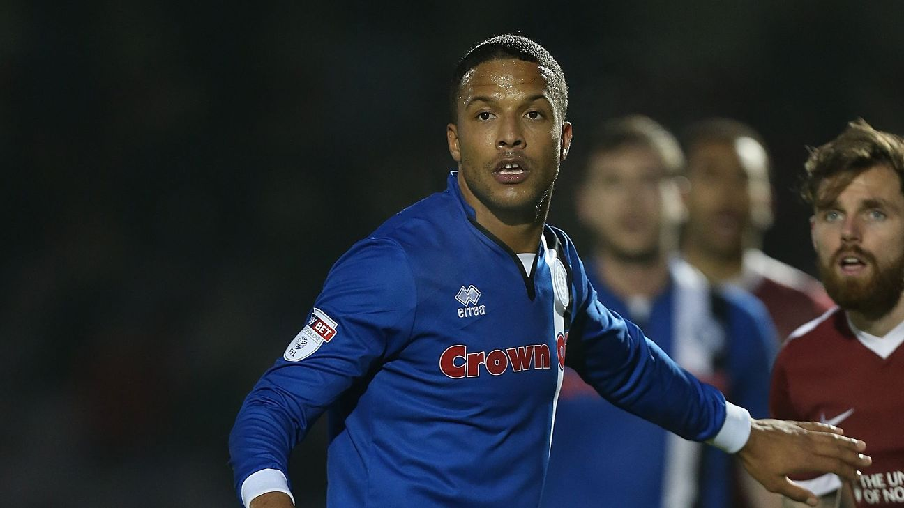 Joe Thompson in action for Rochdale during a League One clash with Northampton