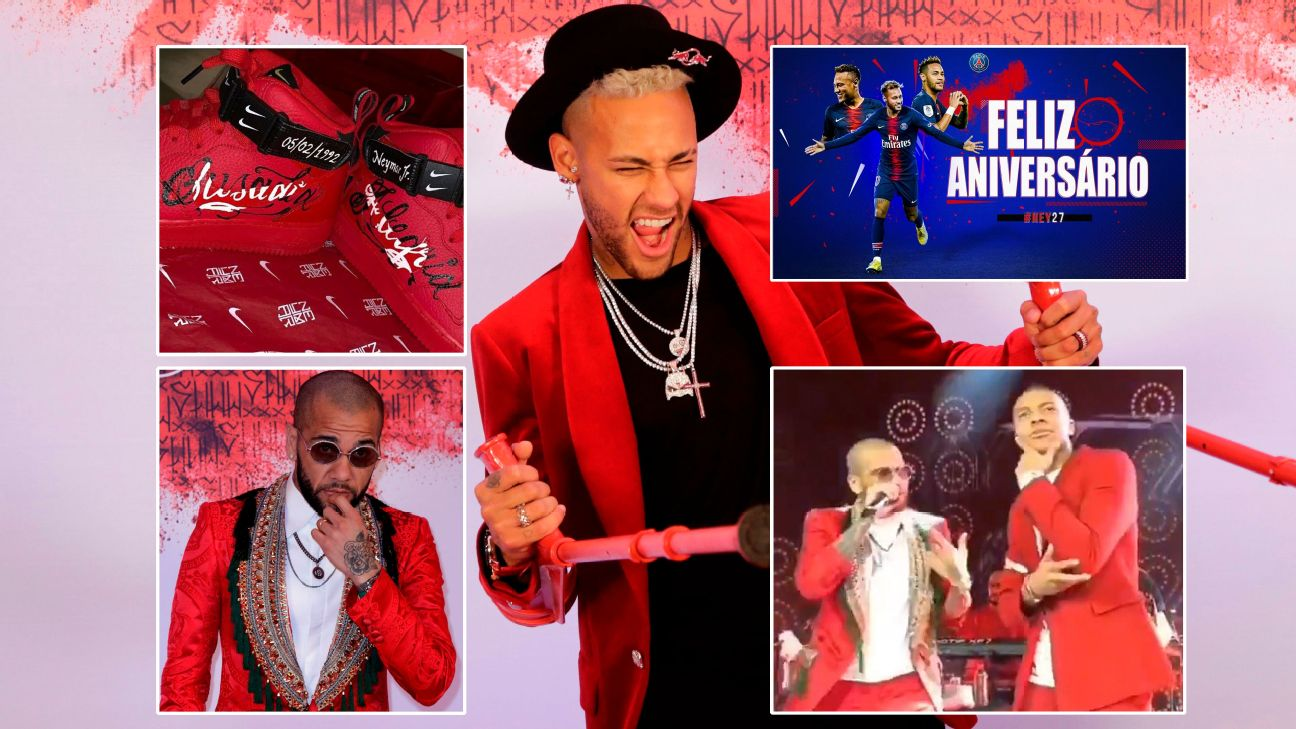 Neymar's birthday party featured another great Dani Alves outfit and some PSG stars performing on-stage