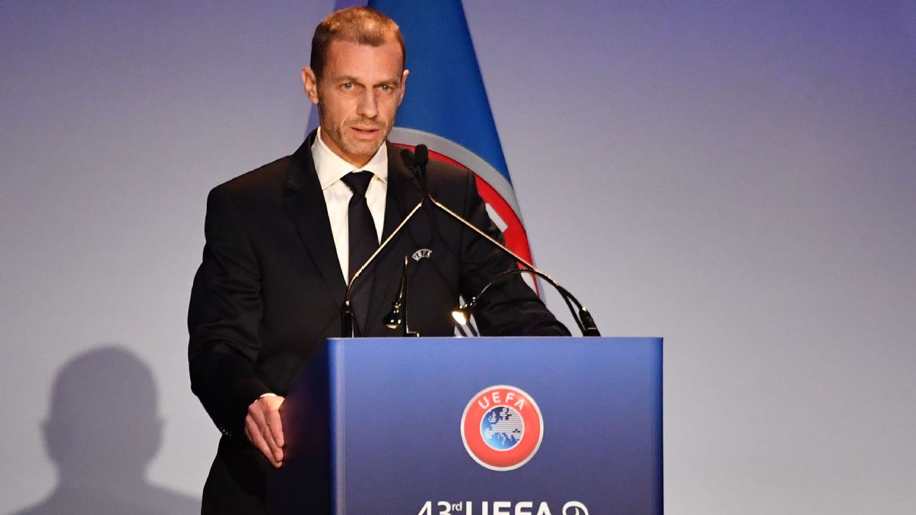 UEFA president Aleksander Ceferin delivers a speech during the 43rd Ordinary UEFA Congress in Rome