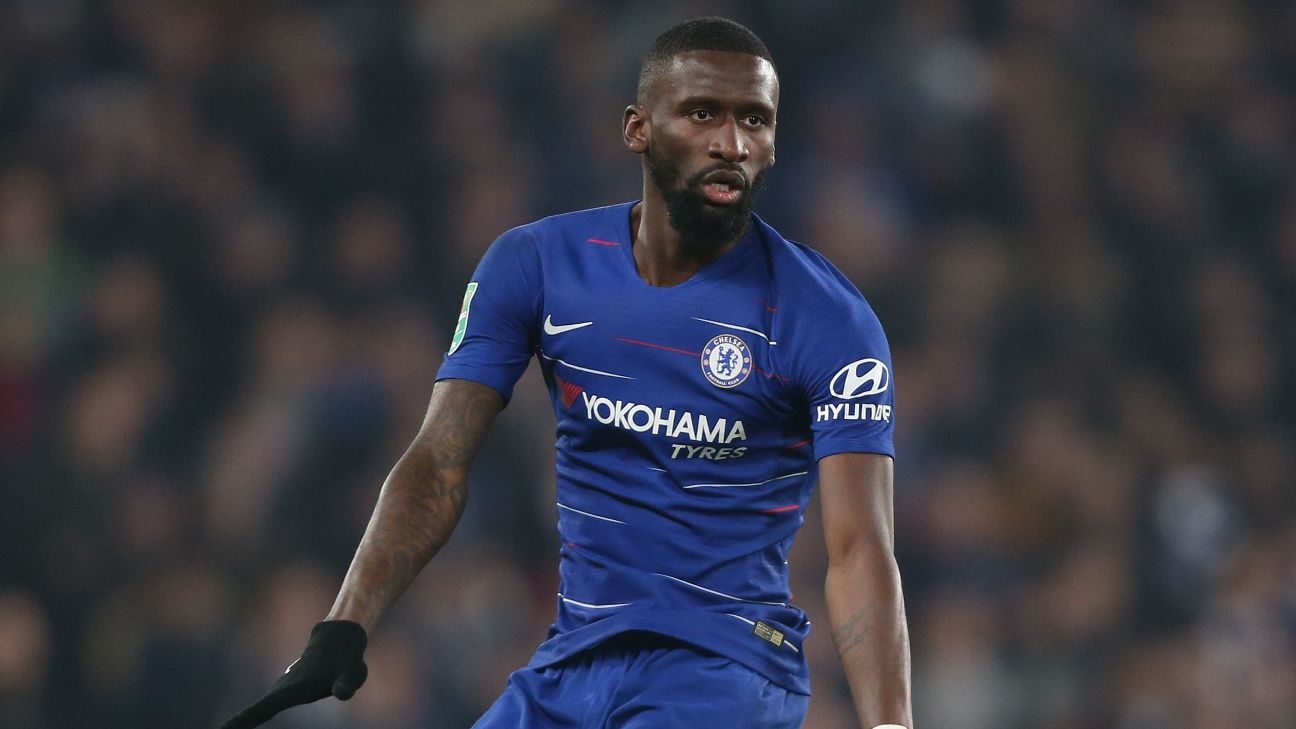 Chelsea defender Antonio Rudiger watches during the Carabao Cup semifinal second leg against Tottenham