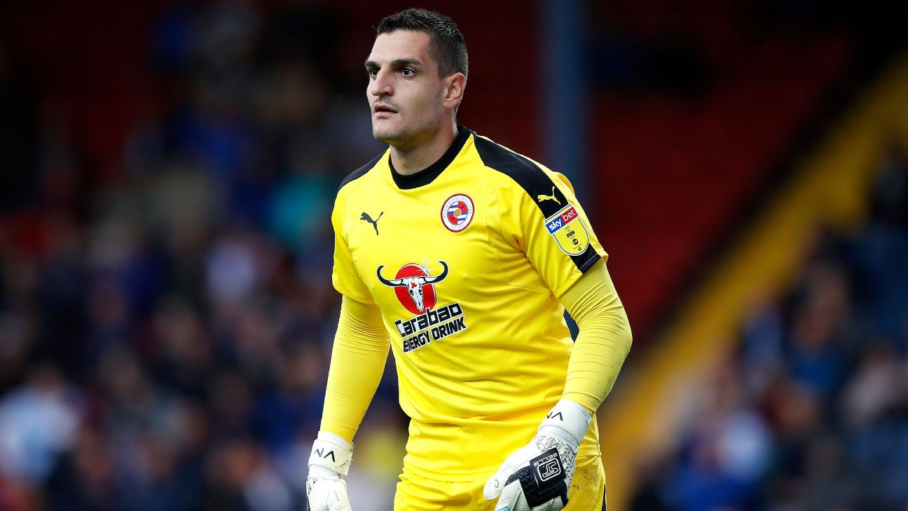 Vito Mannone looks on during Reading's Championship match against Blackburn Rovers.