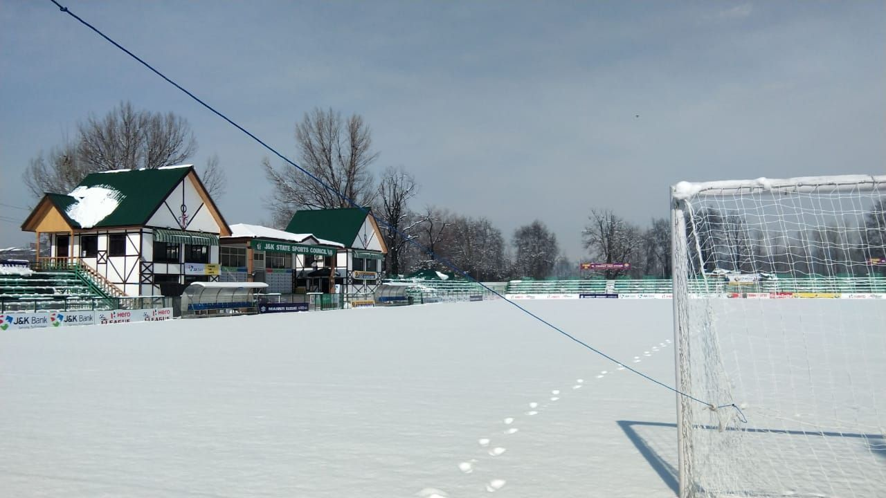 Srinagar's TRC ground was under a foot of snow on Friday.