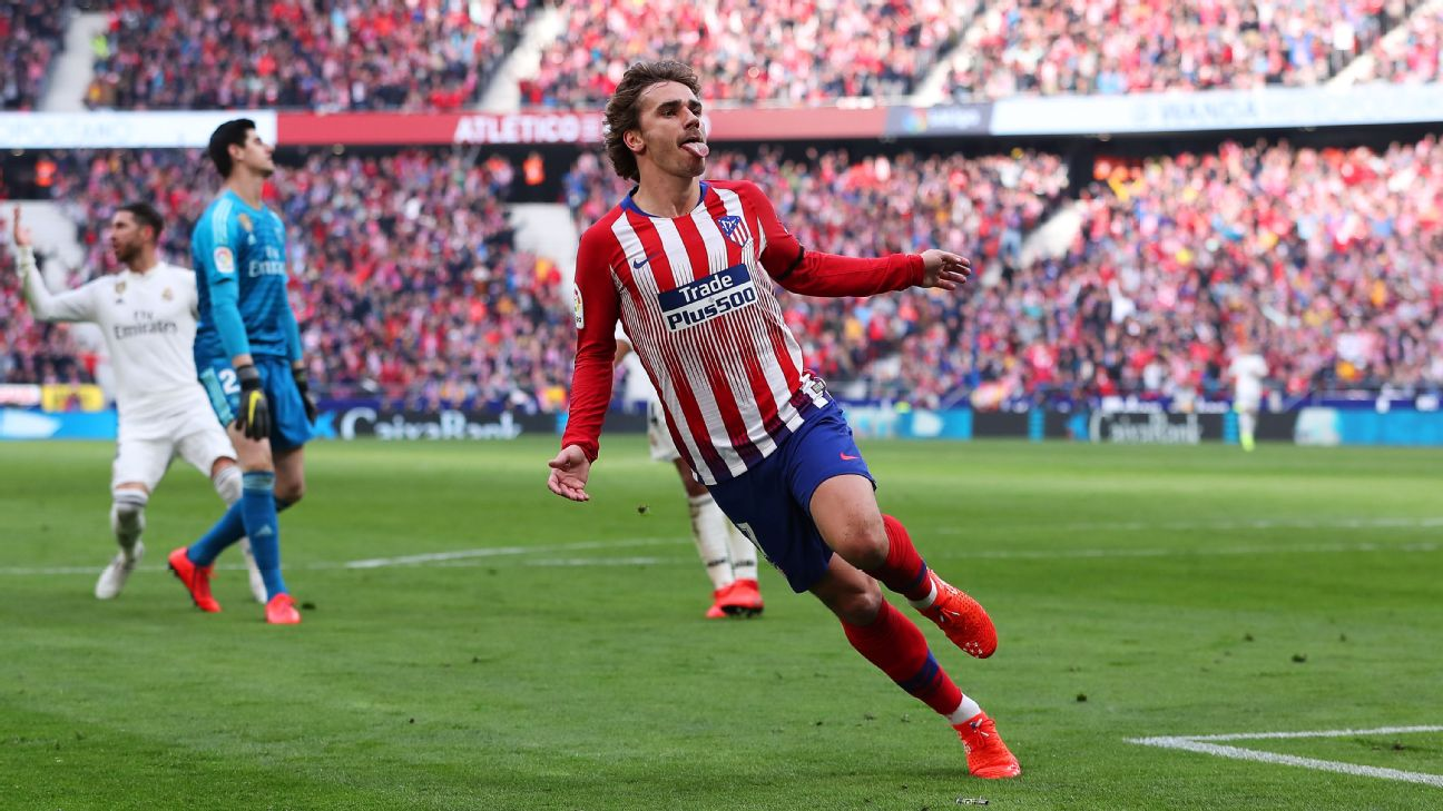 Antoine Griezmann of Atletico Madrid celebrates after scoring his team's first goal