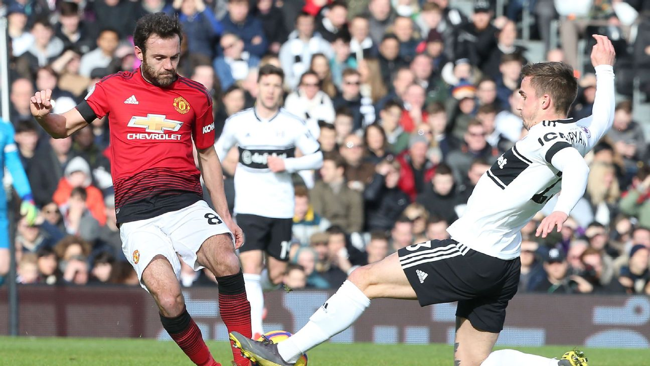 Juan Mata in action for Manchester United against Fulham
