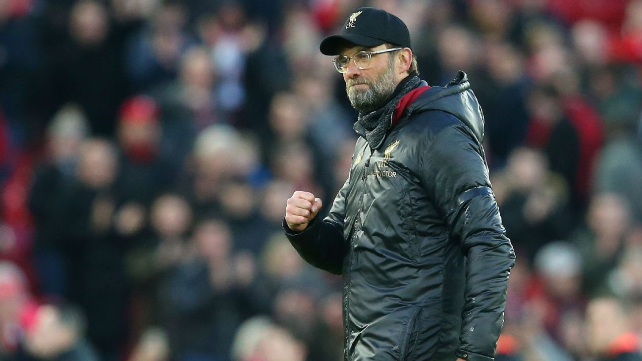 Liverpool manager Jurgen Klopp shows his delight after Liverpool convincingly beat Bournemouth