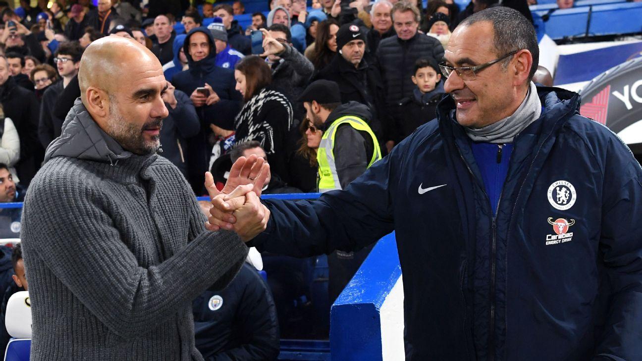 Pep Guardiola shakes hands with Maurizio Sarri.