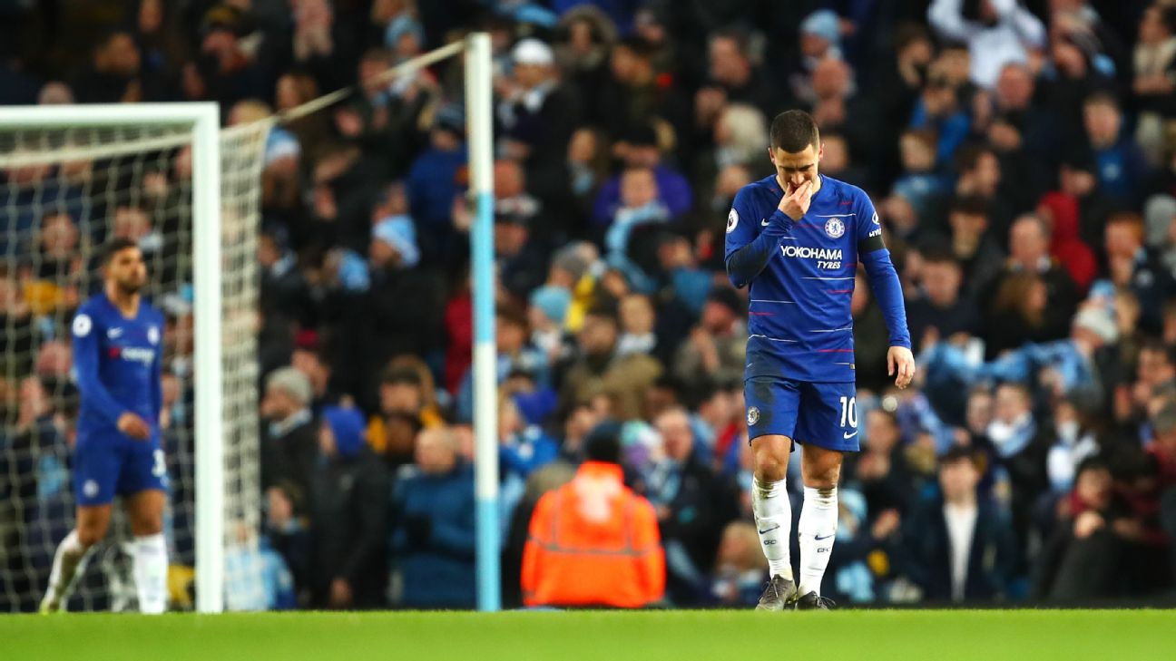Eden Hazard walks away after Man City scored their sixth goal against Chelsea on Sunday.