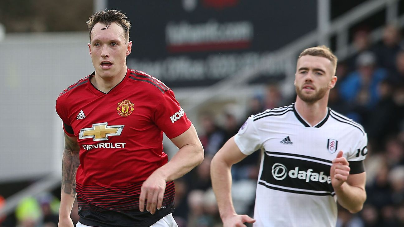 Manchester United  defender Phil Jones in action against Fulham
